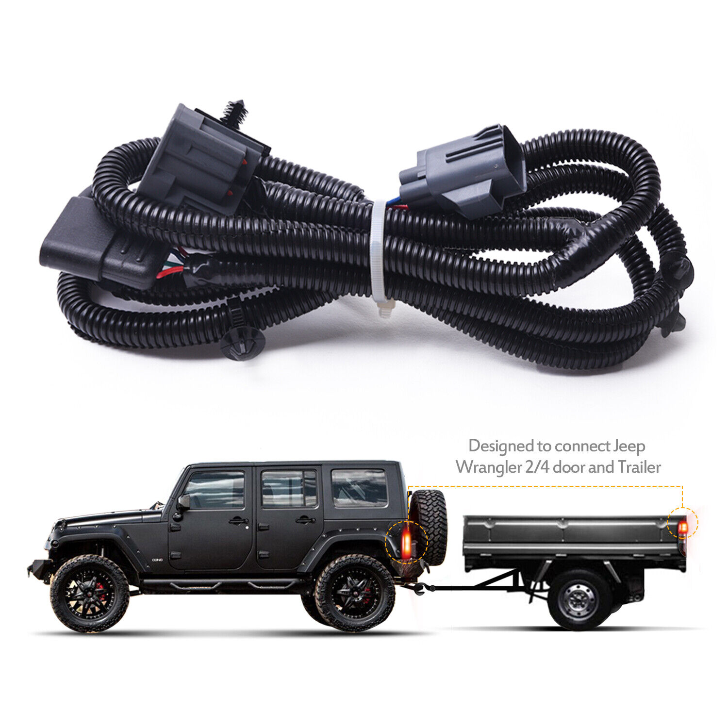 hight resolution of mictuning 65 2007 2017 jeep wrangler jk 4 way trailer tow hitch wiring harness
