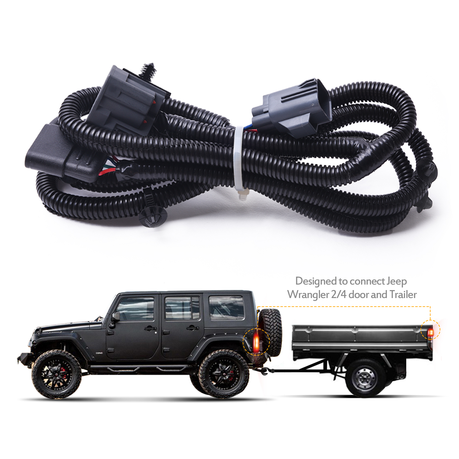 hight resolution of mictuning 65 2007 2017 jeep wrangler jk 4 way trailer tow hitch wiring