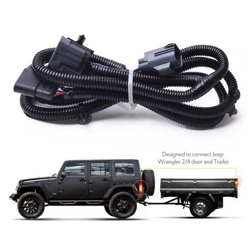 small resolution of mictuning 65 2007 2017 jeep wrangler jk 4 way trailer tow hitch wiring harness