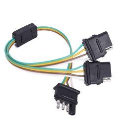 trailer splitter 2 way 4 pin y split wiring harness adapter for led tailgate bar [ 1000 x 1000 Pixel ]