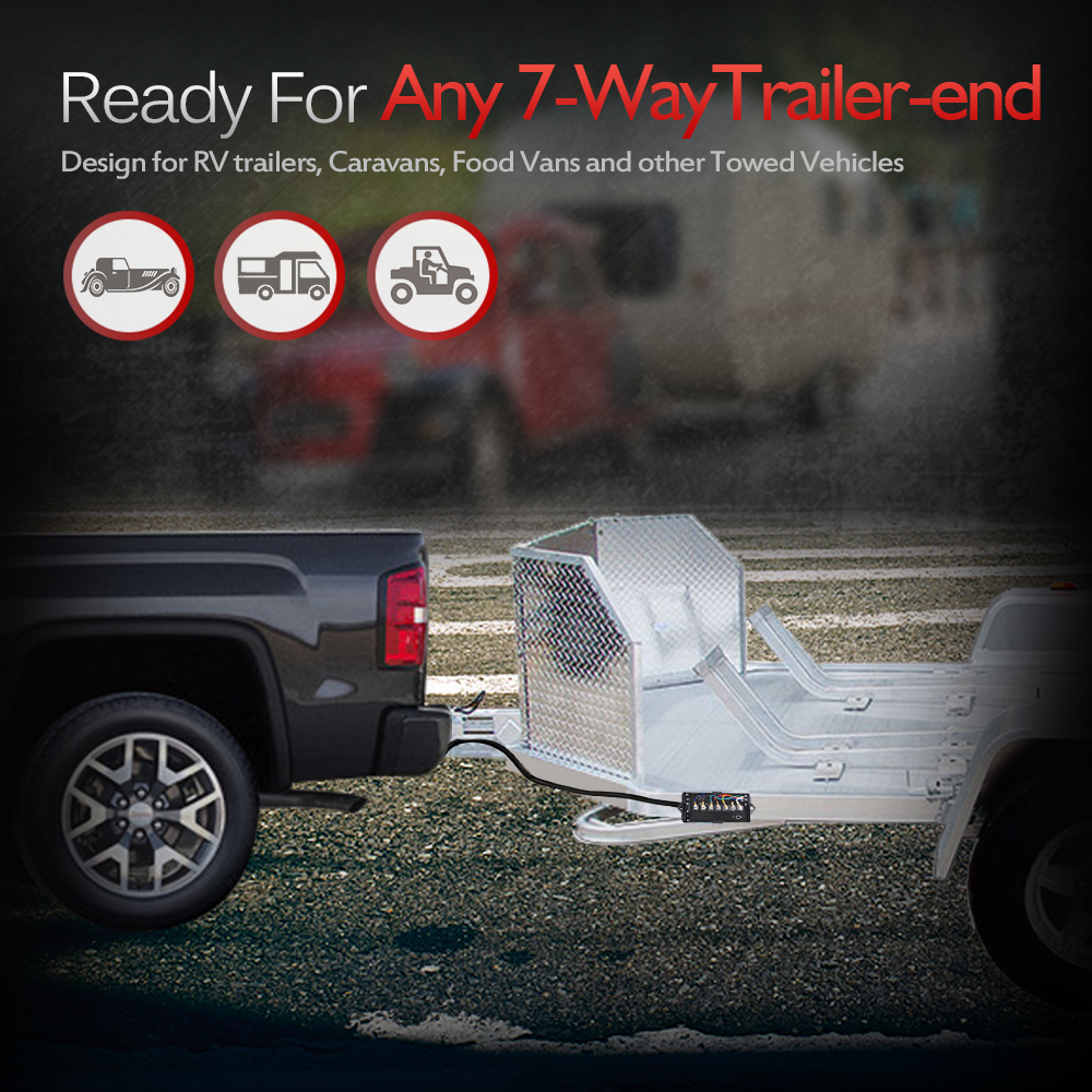 medium resolution of 7 way trailer truck camper plug cord inline harness kit rv blade molded wire 8ft
