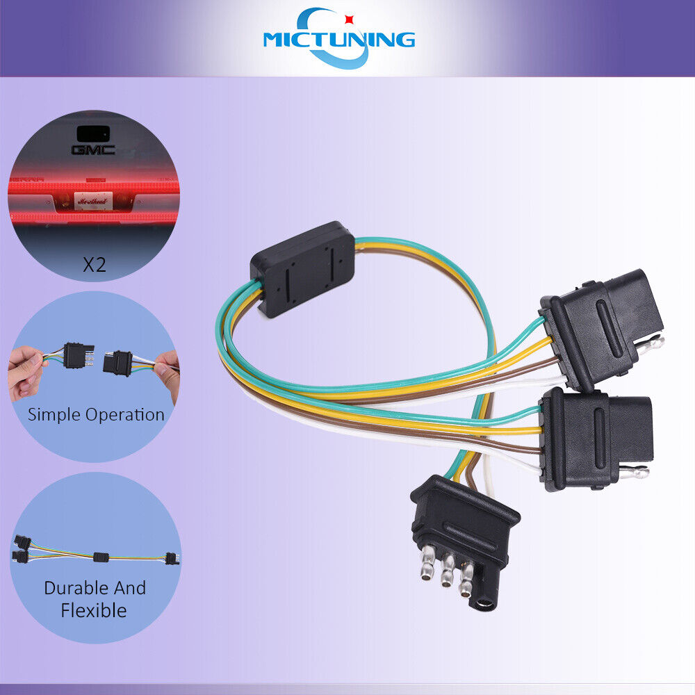 medium resolution of trailer splitter 2 way 4 pin y split wiring harness adapter for led tailgate bar