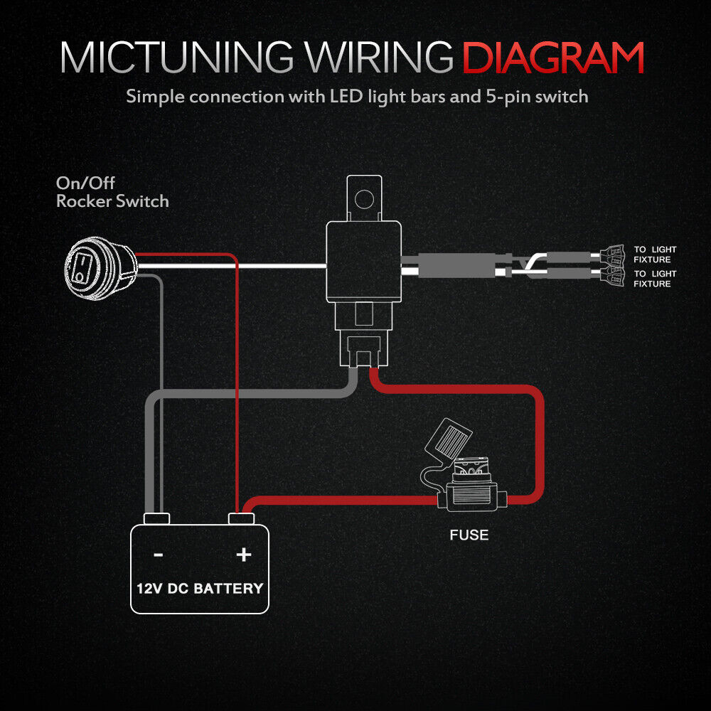 hight resolution of mictuning hd 12 gauge 600w led light bar wiring harness kit with 60 amp relay