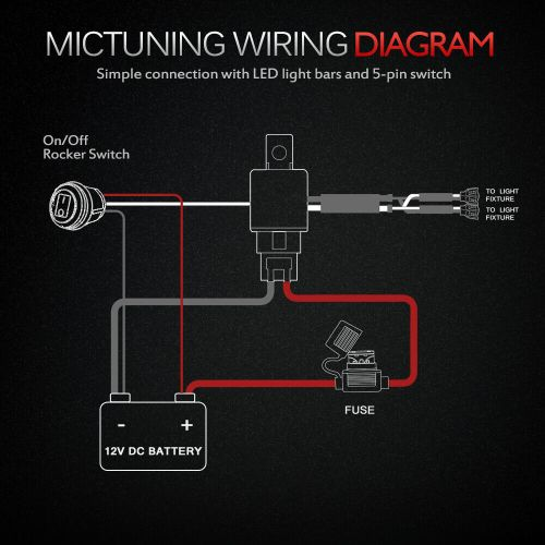 small resolution of mictuning hd 12 gauge 600w led light bar wiring harness kit with 60 amp relay