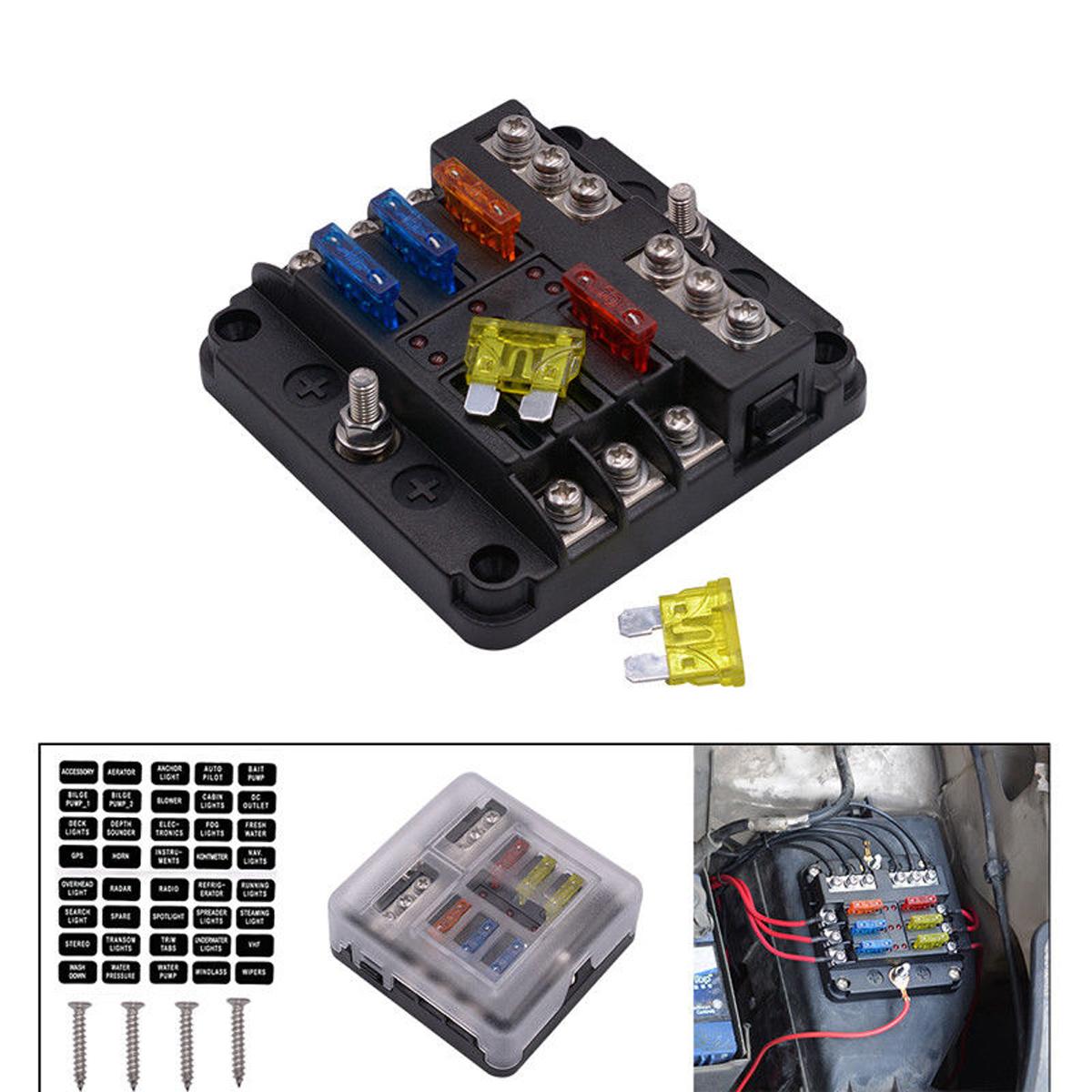 hight resolution of details about 6 way car auto boat marine utv blade fuse box block 12v 32v led indicator uscc
