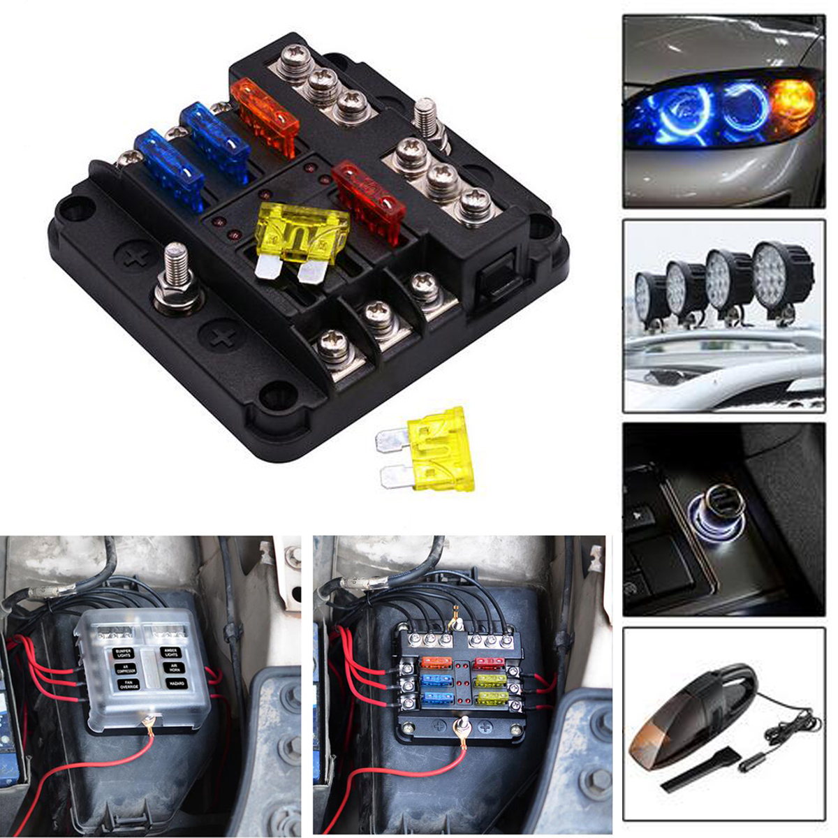 hight resolution of details about 6 way 12v 32v auto car power distribution blade fuse holder box block board uscc