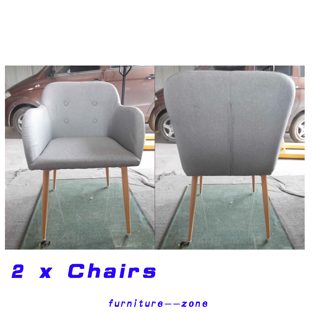 grey modern armchairs dark wood dining chairs 2 fabric chair side tub home details about kitchen study
