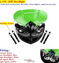 1x dual sport dirt bike headlight fairing for kawasaki kx100 kx250f kx450f 65 [ 1000 x 1000 Pixel ]