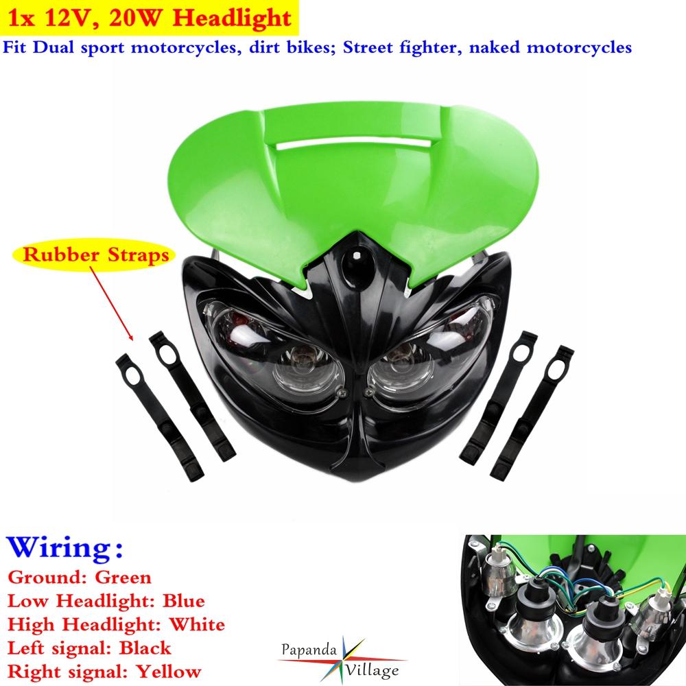 hight resolution of 1x dual sport dirt bike headlight fairing for kawasaki kx100 kx250f kx450f 65