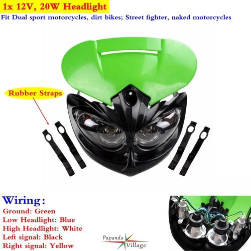 small resolution of 1x dual sport dirt bike headlight fairing for kawasaki kx100 kx250f kx450f 65