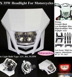 motocross dirt bike headlight head lamp fairing for honda suzuki yamaha kawasaki [ 1000 x 1000 Pixel ]