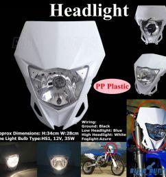 white enduro cross headlight dirt bike head lamp fairing for yamaha wr450f 12 16 [ 1000 x 1000 Pixel ]
