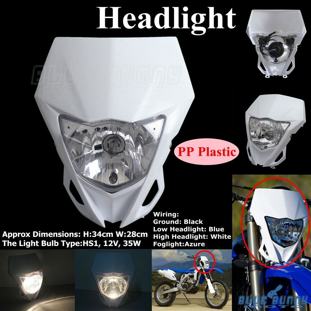 hight resolution of white enduro cross headlight dirt bike head lamp fairing for yamaha wr450f 12 16