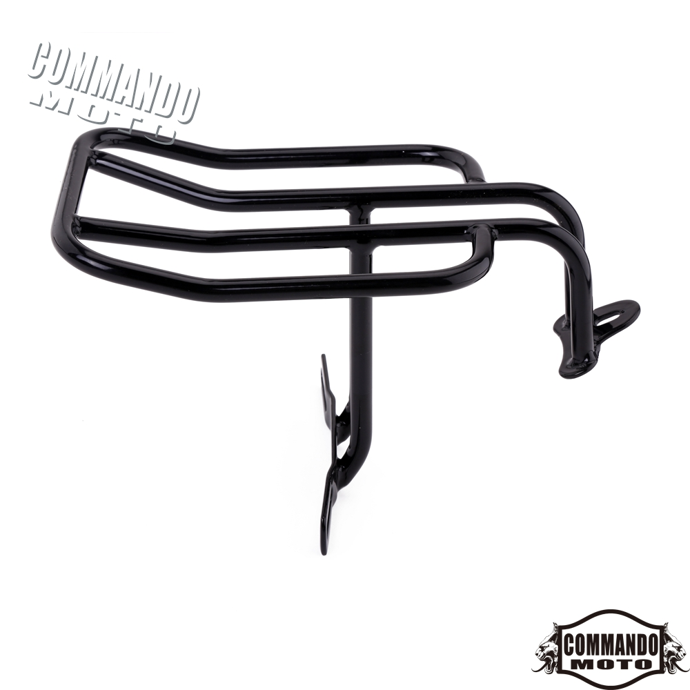 Black Solo Seat Luggage Rack Carrier For Harley Davidson
