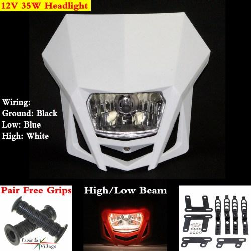 small resolution of white dirt bike off road motorcycle headlight lamp fairing enduro dual sport