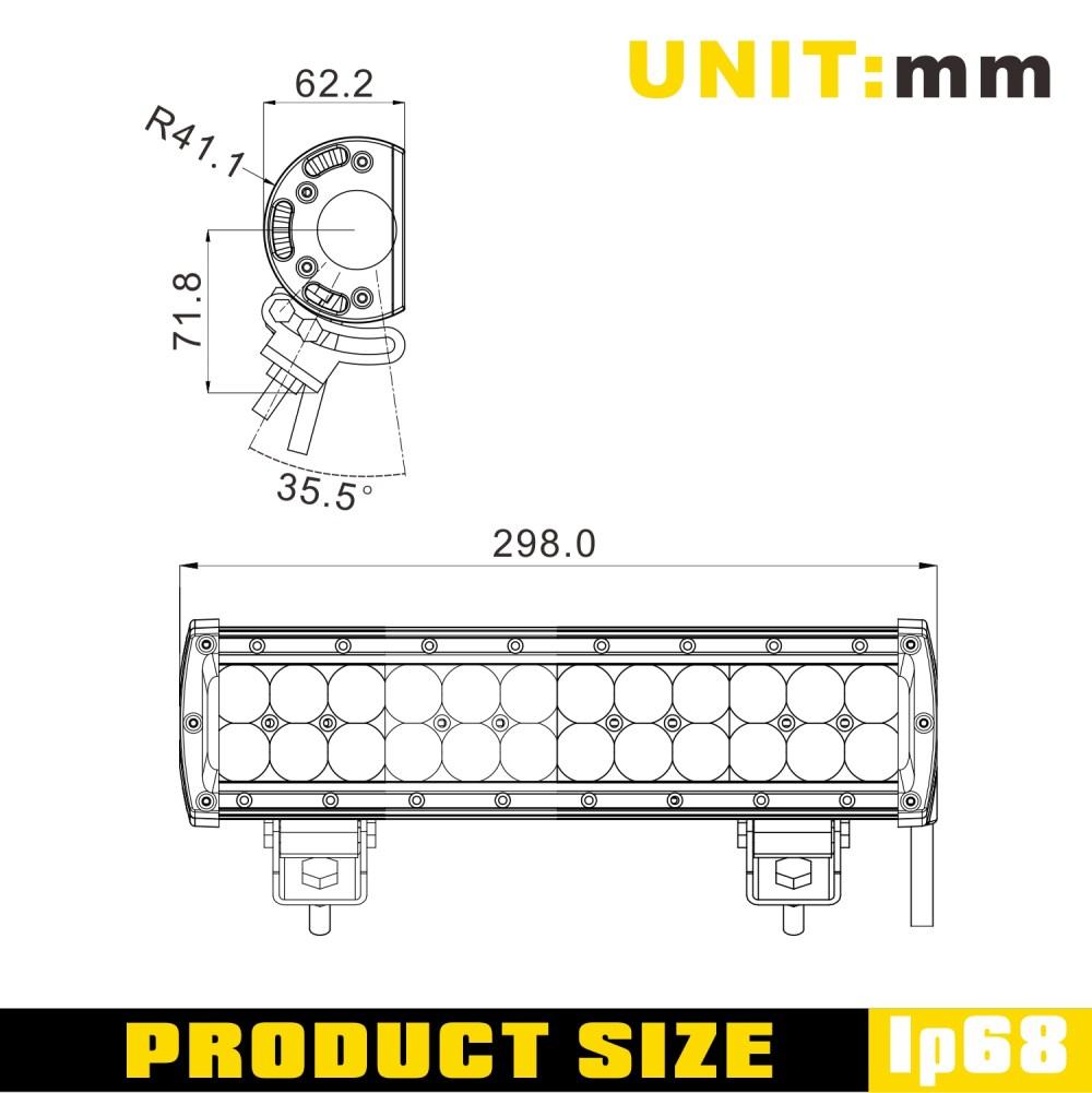 medium resolution of sldx 12 72w 4dimt off road led light bar sae high beam pattern truck bar light