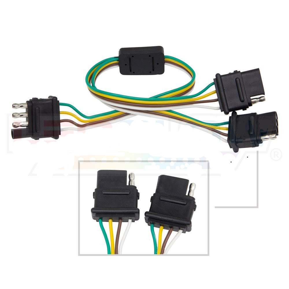hight resolution of details about 4 way trailer wiring harness w standard 4 pin flat connector y splitter