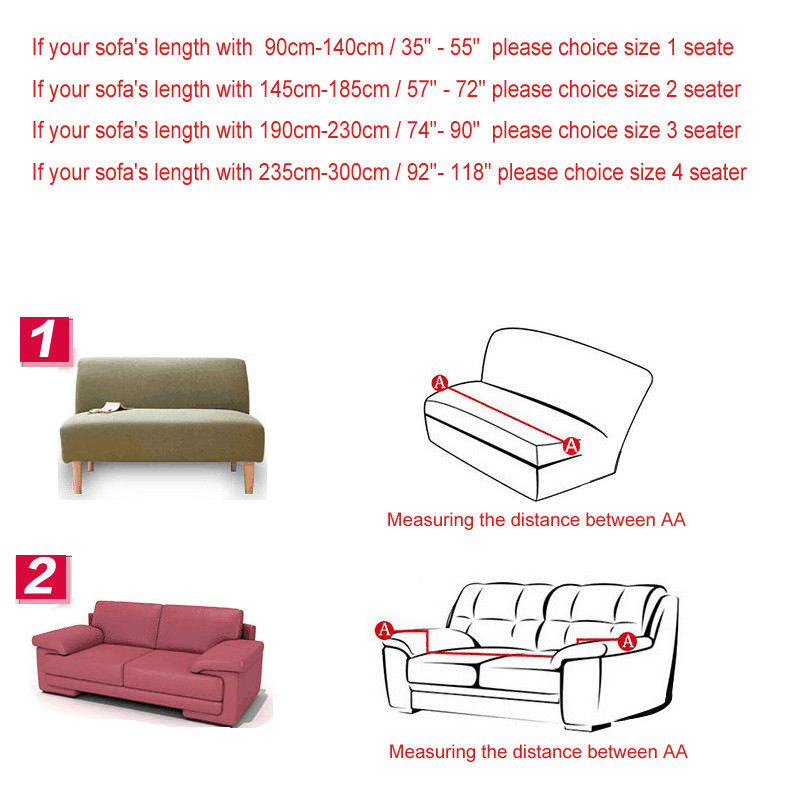 length of 2 seater sofa consumer reports bed mattress stretch chair covers 1 3 4 slipcover home furniture protector