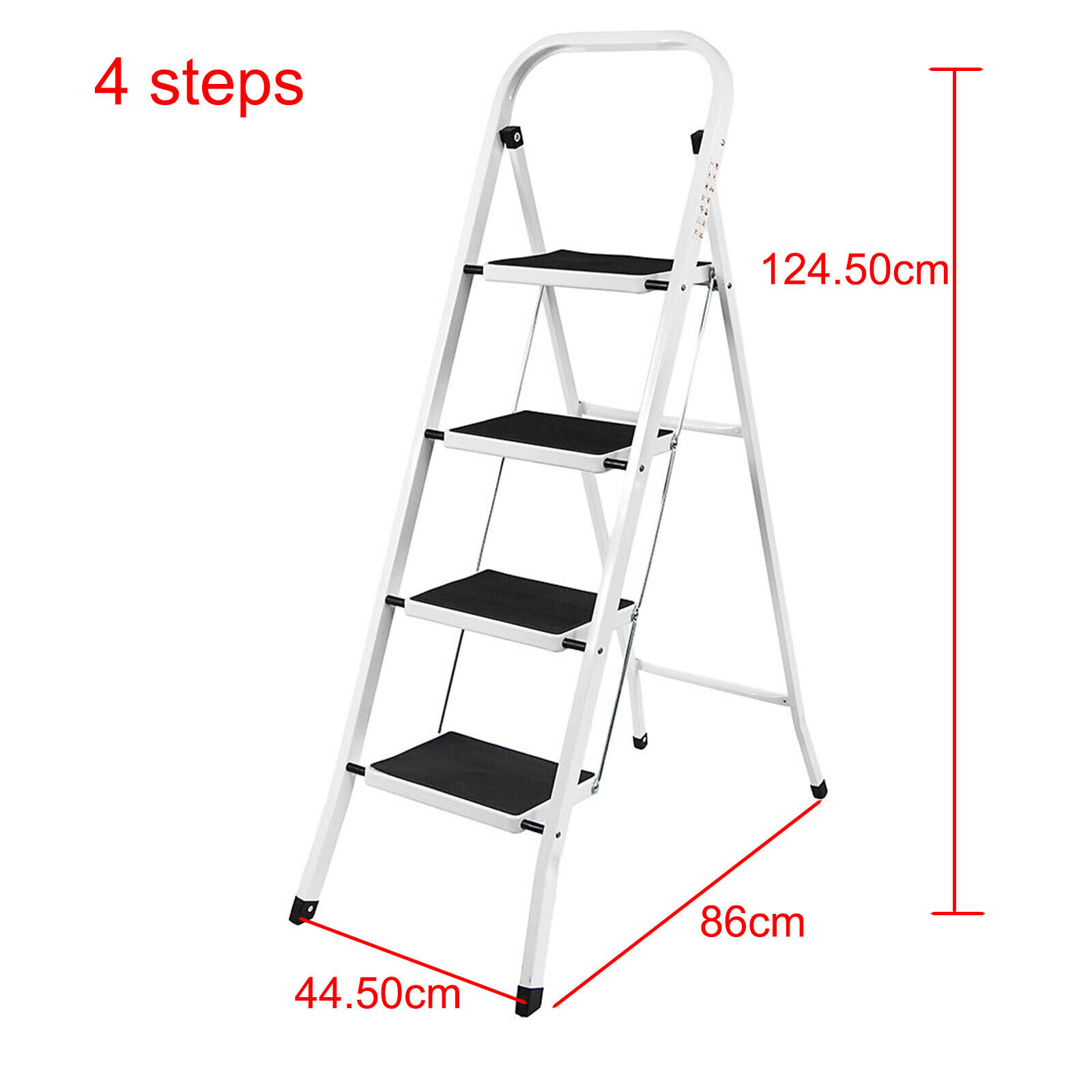 2 3 4 Heavy Duty Foldable Step Ladder Strong Folding Metal