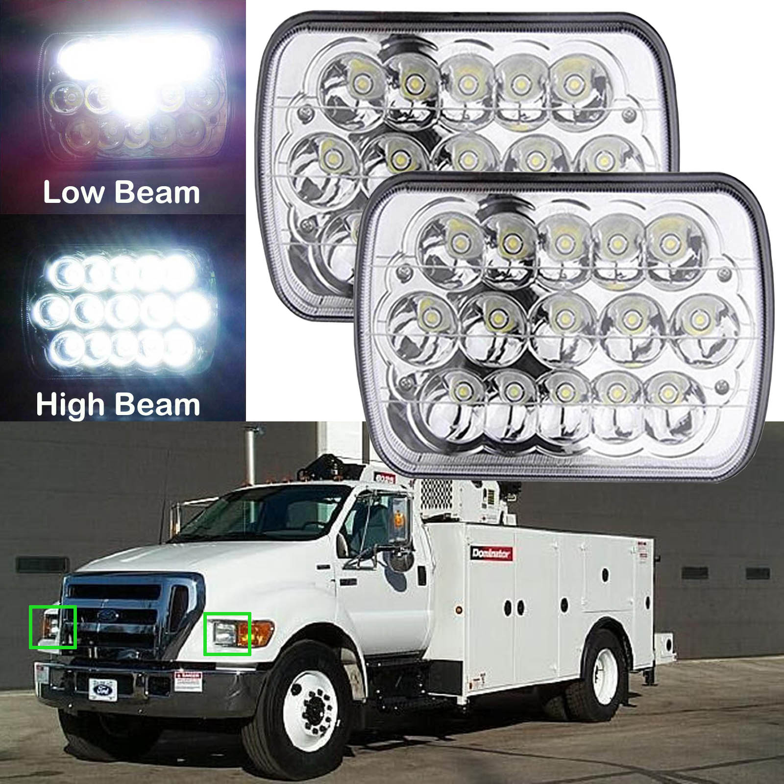 hight resolution of 2pcs 7 x6 led headlight fit for ford super duty truck f550 f600 f650 f700 f750