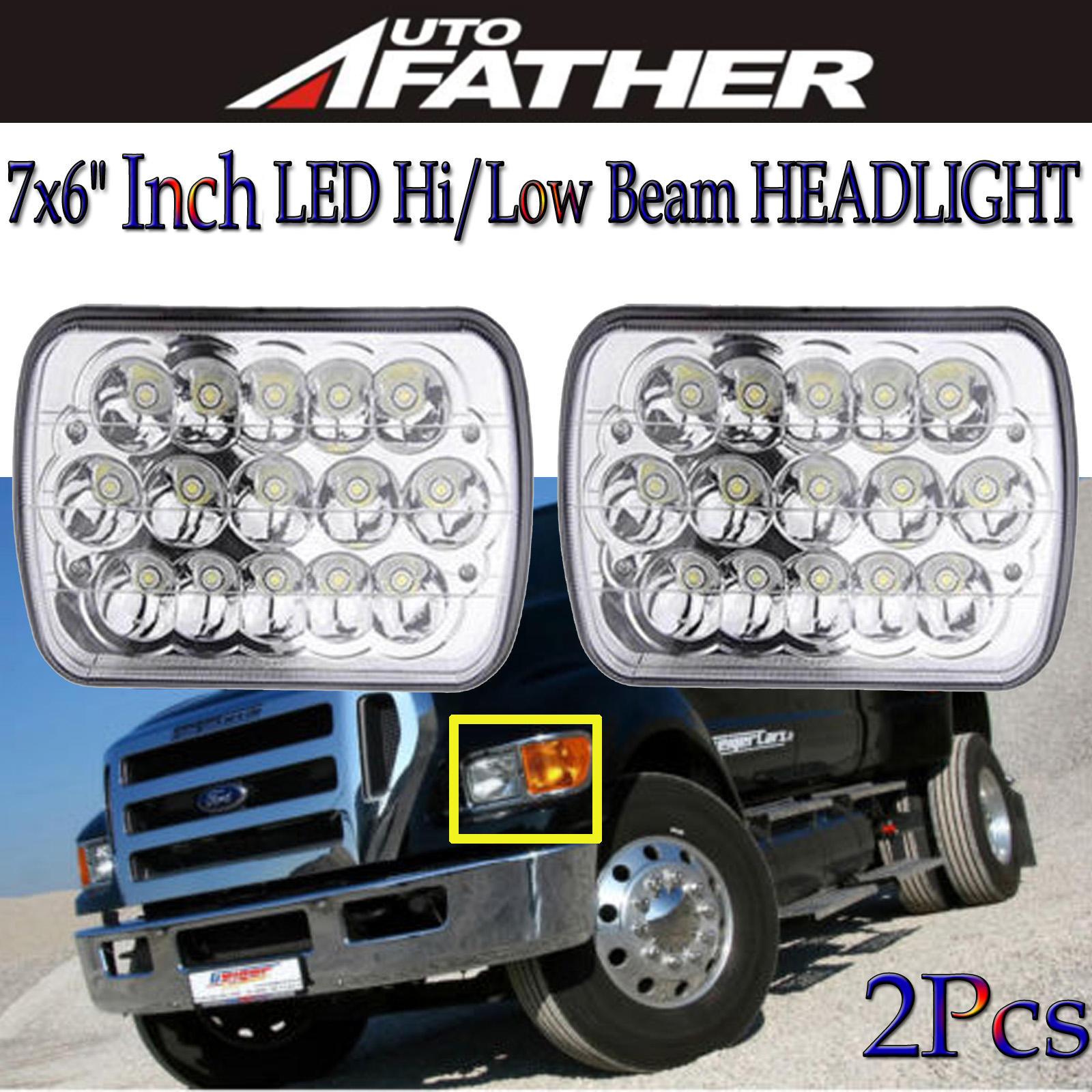 hight resolution of 7x6 inch led headlight upgrade for ford superduty truck f550 f600 f650 f700 f750