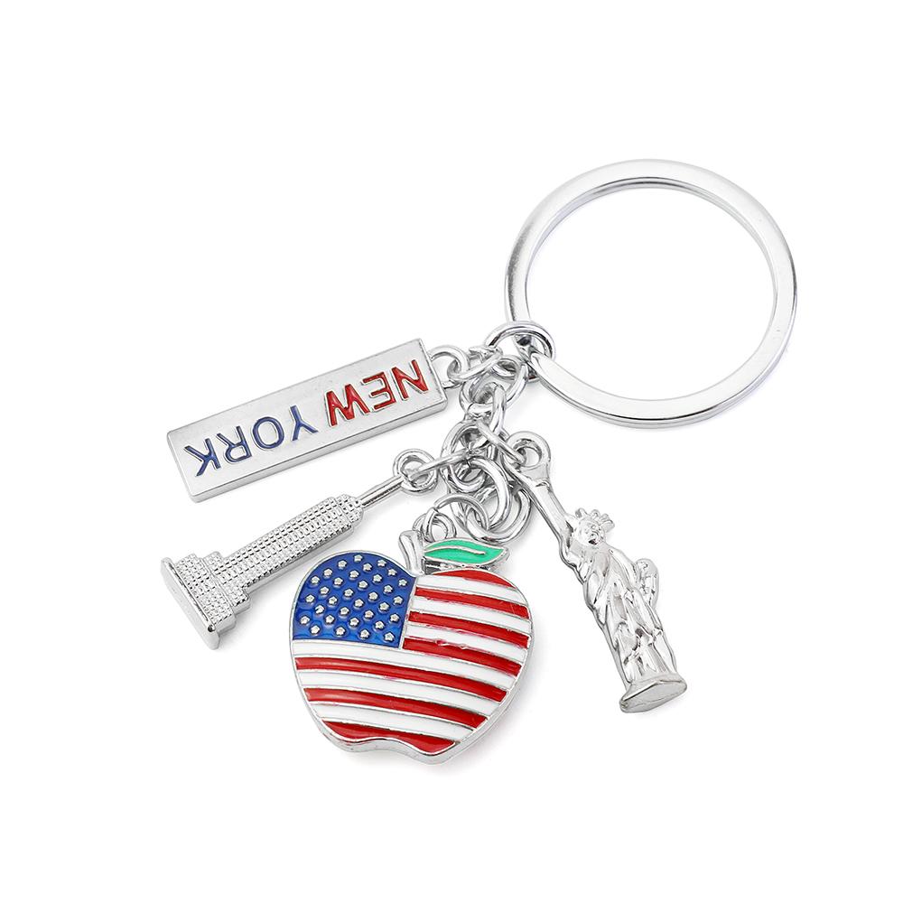 1-6Pcs New York Keychain US Flags Key Chain Keyring
