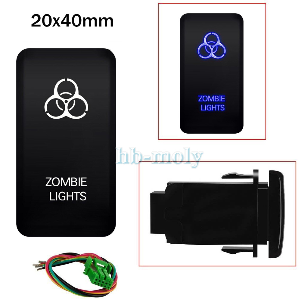 hight resolution of details about blue led push zombie lights switch on off light wiring harness kit for toyota 3a