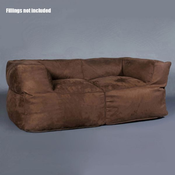 Premium Blue Suede Beanbag Bean Bag Cover 2 Seater Sofa Couch Loveseat Bb2pblu