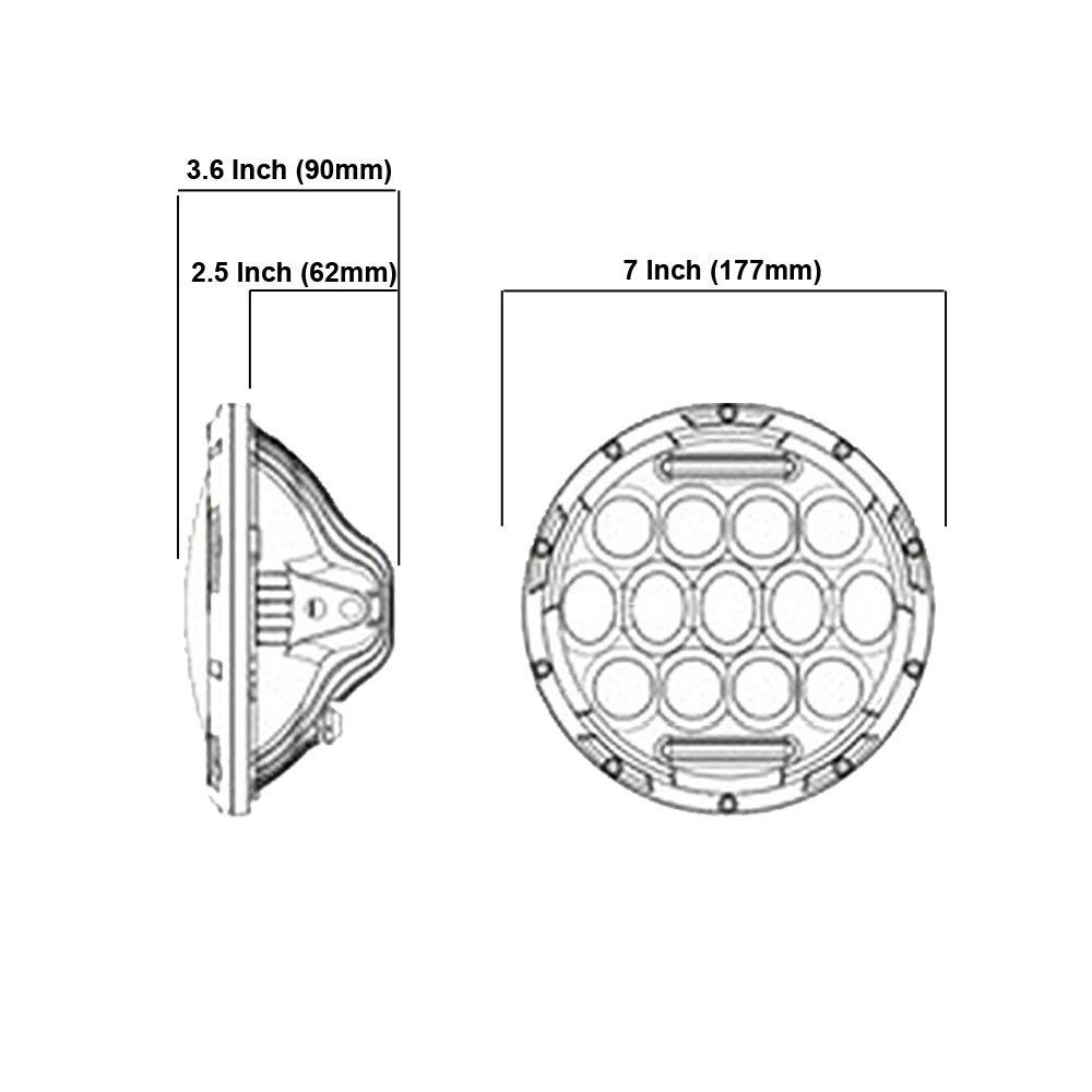 2X 7Inch Round 150W LED Headlight For Hi/Low H4 H13 97-17