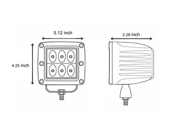 24W 5inch CREE LED Square Work Light Flood Trailer Boat