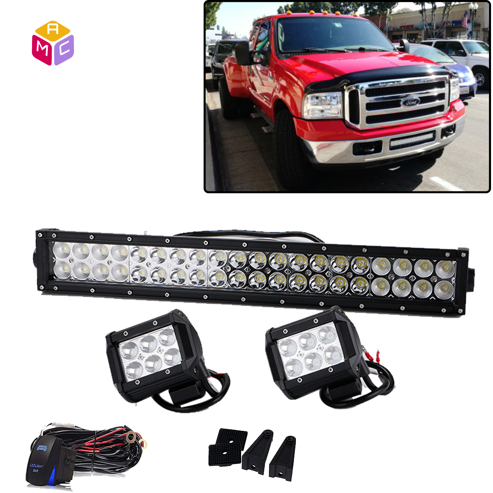 medium resolution of 120w 20 led light bar w mounting brackets wiring kit for 99 07 ford f250 f350