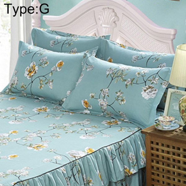 Home Flower Floral Bed Skirt Pillowcase Dust Ruffle