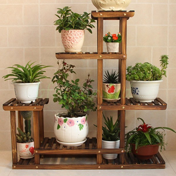 Wooden Plant Flower Herb Display Stand Shelf Storage Rack Outdoor 7 Pots Holder