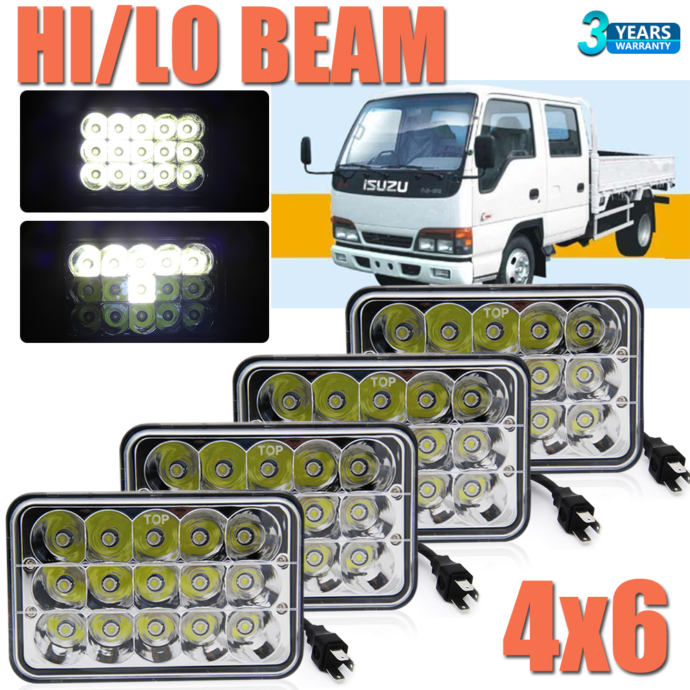 hight resolution of details about 4pcs 4x6 h4 led headlights hi lo beam for forward isuzu npr hd nqr gmc w3500