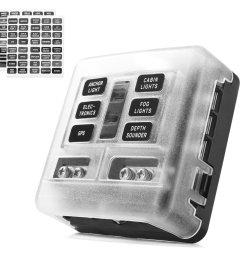 6 circuit led illuminated automotive blade fuse holder box fuse block w negative [ 1000 x 1000 Pixel ]