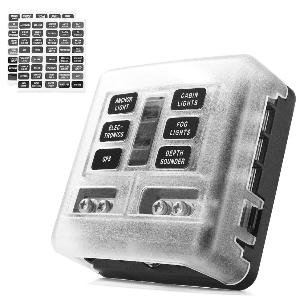 medium resolution of 6 circuit led illuminated automotive blade fuse holder box fuse block w negative