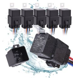 5pcs waterproof universal 12v 5 pin spdt 40 30 amp relay wiring wire harness [ 1000 x 1000 Pixel ]