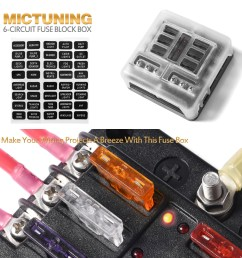 6 circuit led illuminated automotive blade fuse holder box fuse block w negative [ 1000 x 1000 Pixel ]