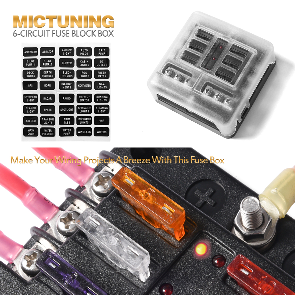 medium resolution of 6 circuit led illuminated automotive blade fuse holder box fuse block w negative