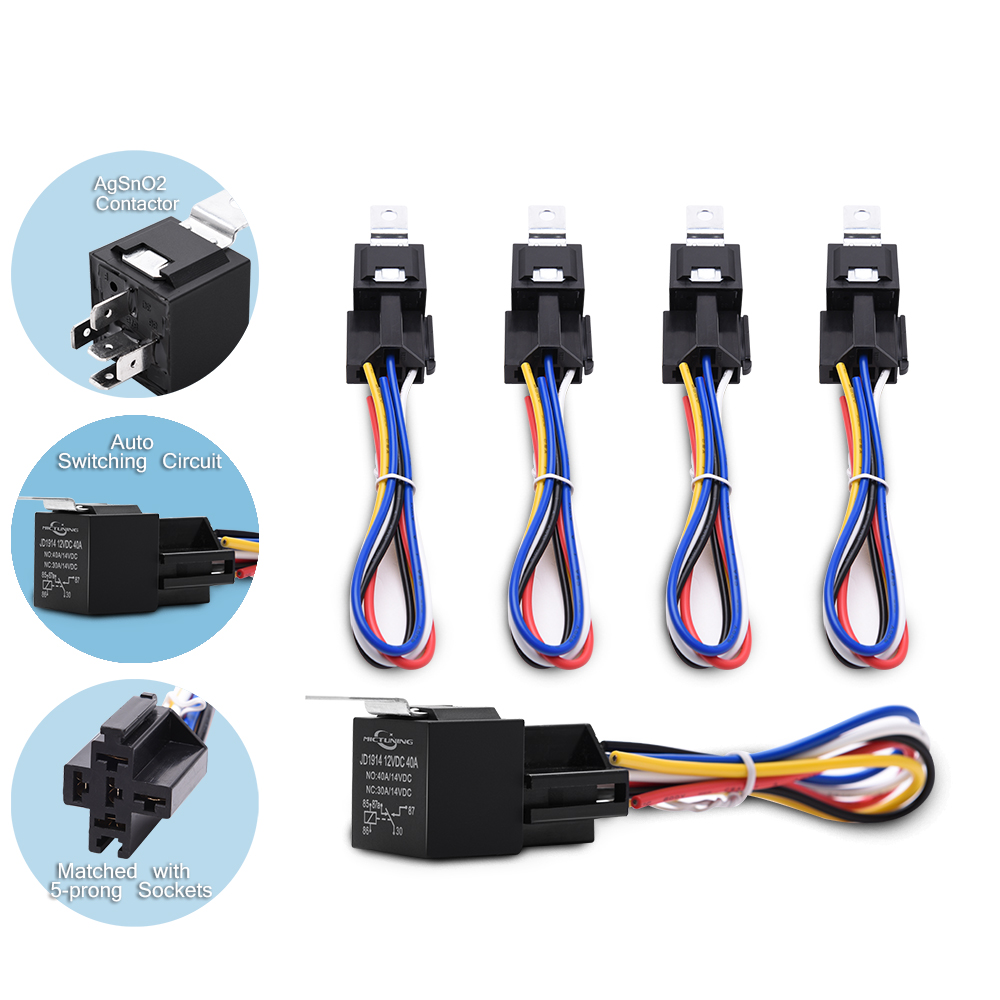 hight resolution of 12v 30 40amp relay harness socket spdt 5pin automotive car relays kit 5 pieces