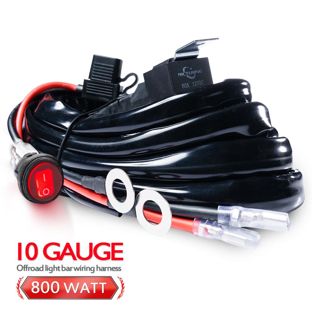medium resolution of 10 gauge 800w 60amp relay wiring harness kit led light bar hd led light wiring gauge