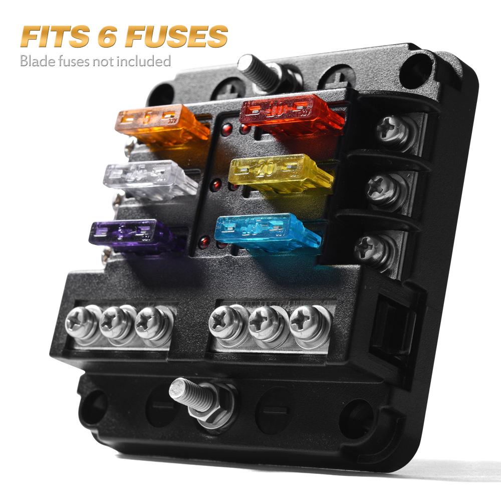 hight resolution of details about 6 circuit automotive atc blade fuse holder box led indicator block w negative