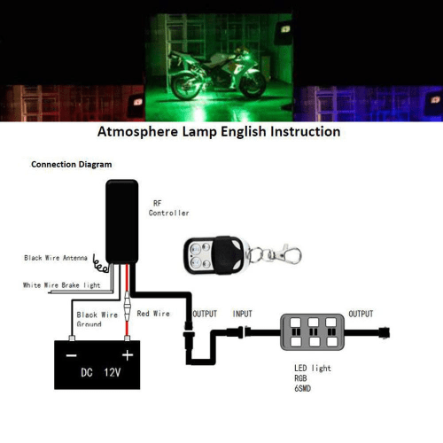 small resolution of 12pcs motorcycle light strip multi color rgb flexible remote kit car atv 5050