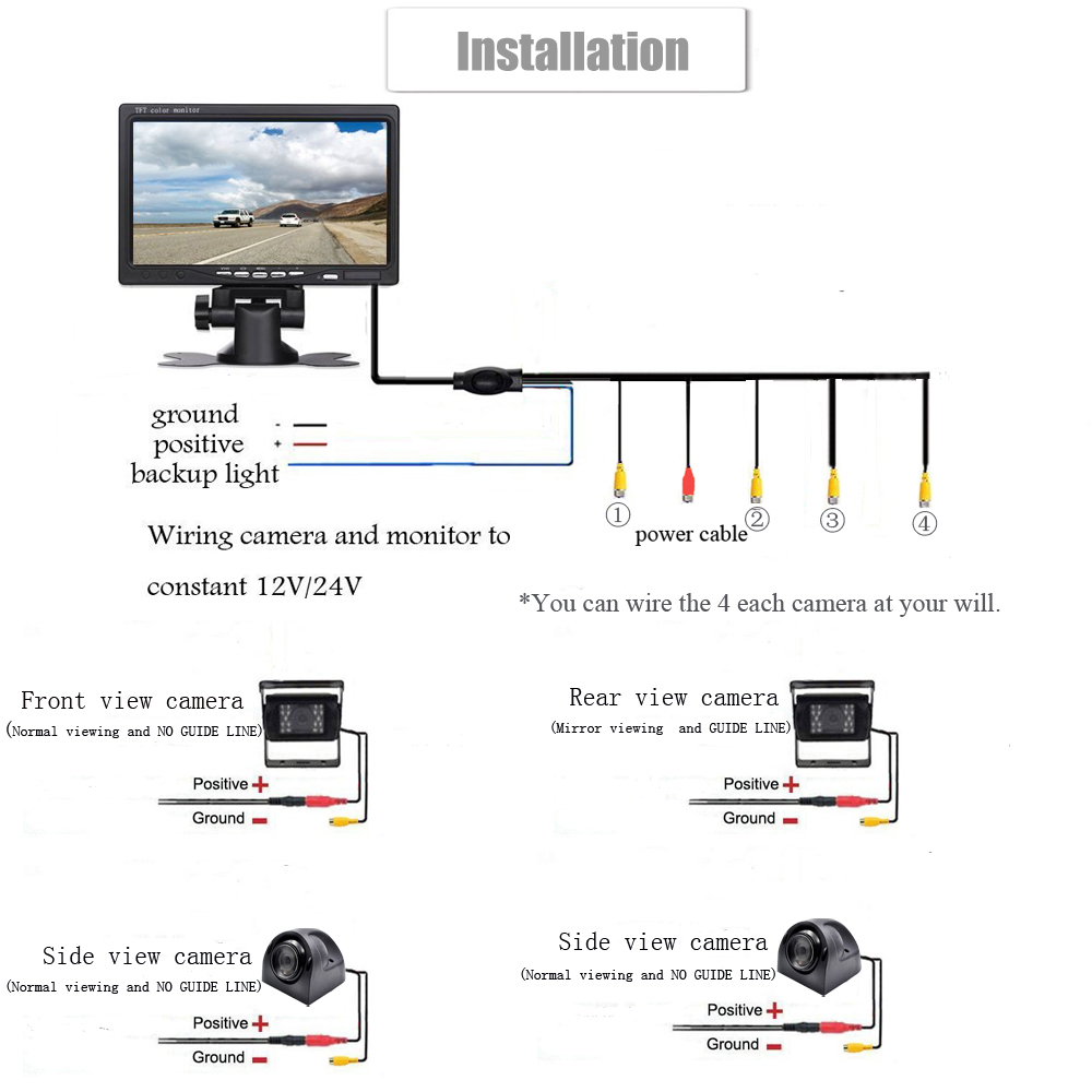 hight resolution of 7 color tft lcd monitor image can be switched left and right up and down panoramic driving security system you can see 4 direction scenery on a