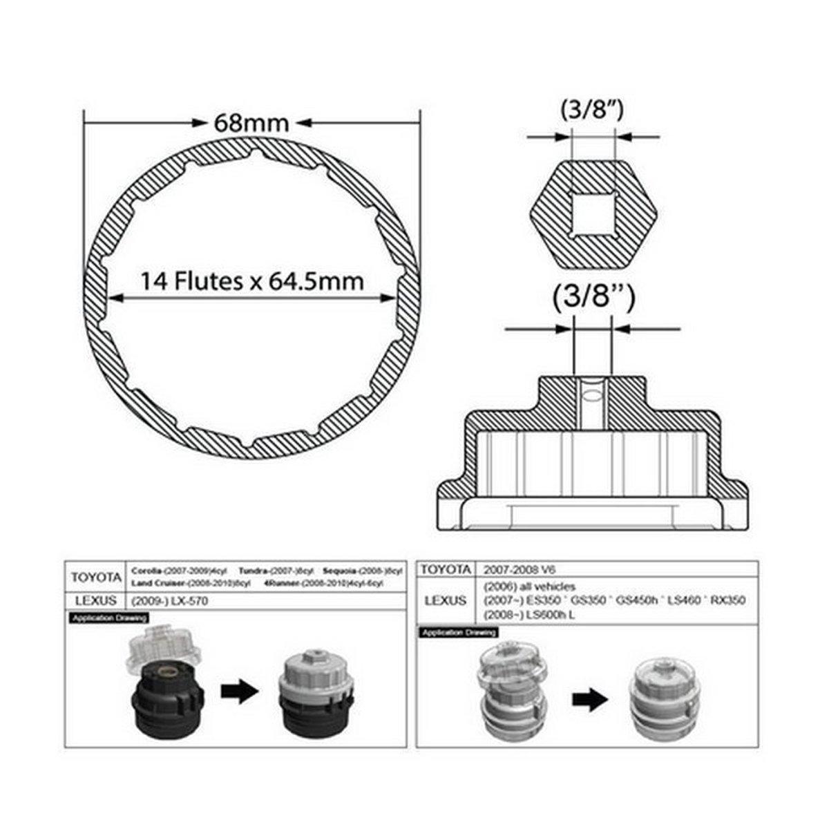 64mm 14flute Oil Filter Cap Wrench Tool For Toyota Lexus