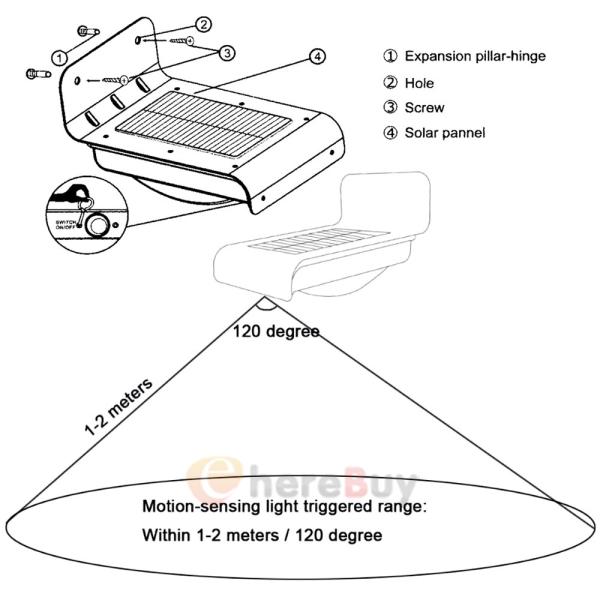 2Pack 16 LED Solar Power Motion Sensor Garden Security