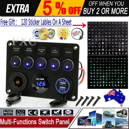 small resolution of details about inline fuse box led rocker switch panel voltmeter usb charger socket boat marine