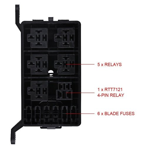 small resolution of universal off road car truck insurance 6 way fuse relay holder box socket black