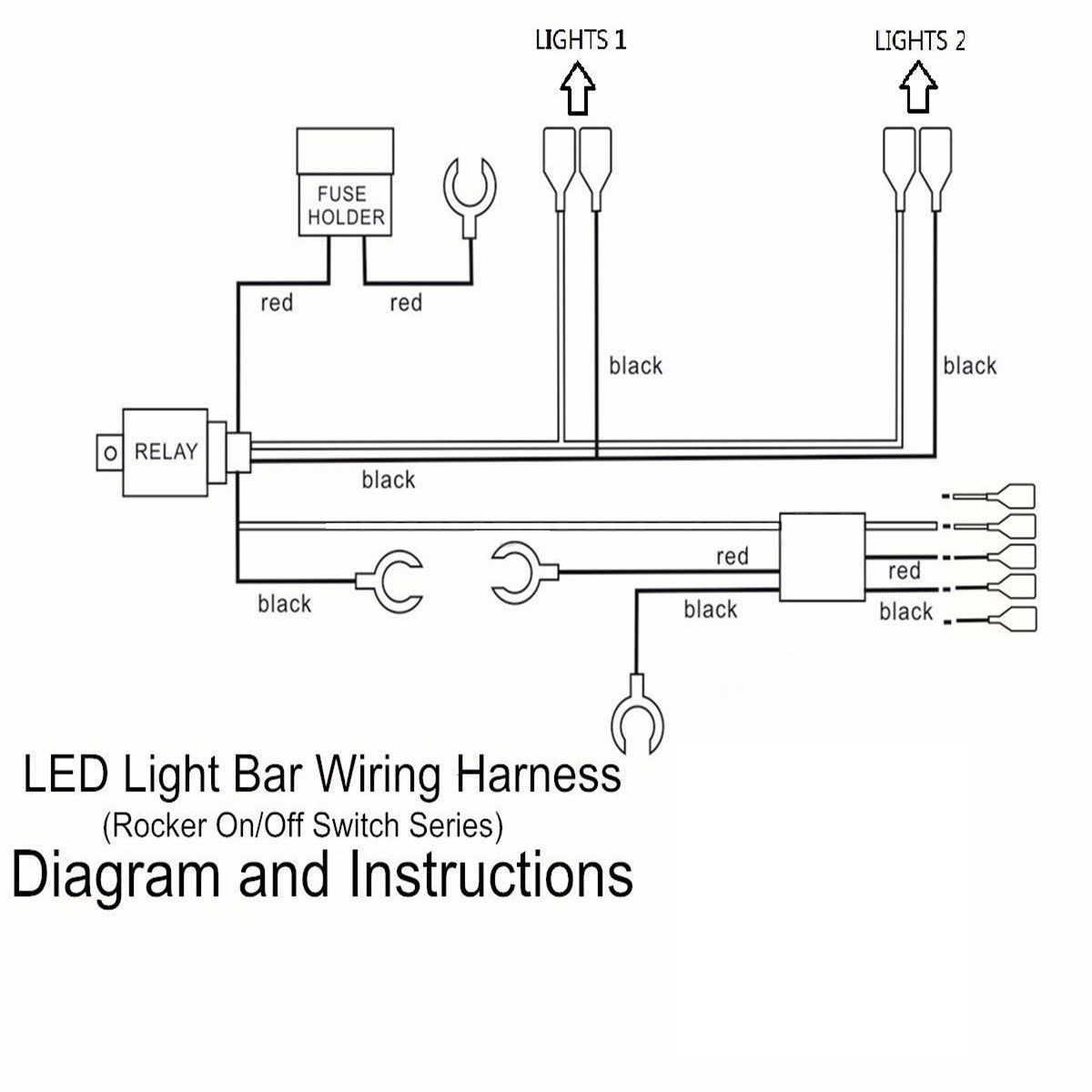 wiring diagram relay off road lights xlr mono jack 5 pins led light bar driving switch rocker loom harness 12v | ebay