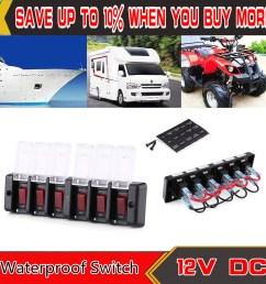 6 groups car boat switch marine panel waterproof circuit breaker fuse dc 12v 16a [ 1500 x 1500 Pixel ]